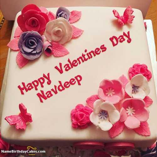 💌ਵੈਲੇਨਟਾਈਨ Name Art - Happy Valentines Day Navdeep NameBirthdayCakes . com - ShareChat