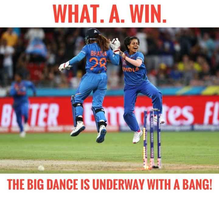 🏏ટીમ ઇન્ડિયા - WHAT . A . WIN . BHATA ASTER Tites FL THE BIG DANCE IS UNDERWAY WITH A BANG ! - ShareChat