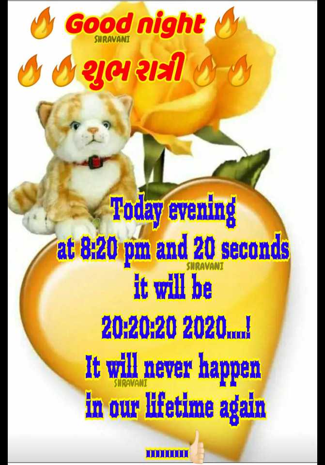 🌙 શુભ રાત્રી - SHRAVANI Good nighty g I Ya alal 9 - 9 SNRAVANI Today evening at 8 : 20 pm and 20 seconds it will be 20 : 20 : 20 2020 . . . . It will never happen in our lifetime again SNRAVANI - ShareChat