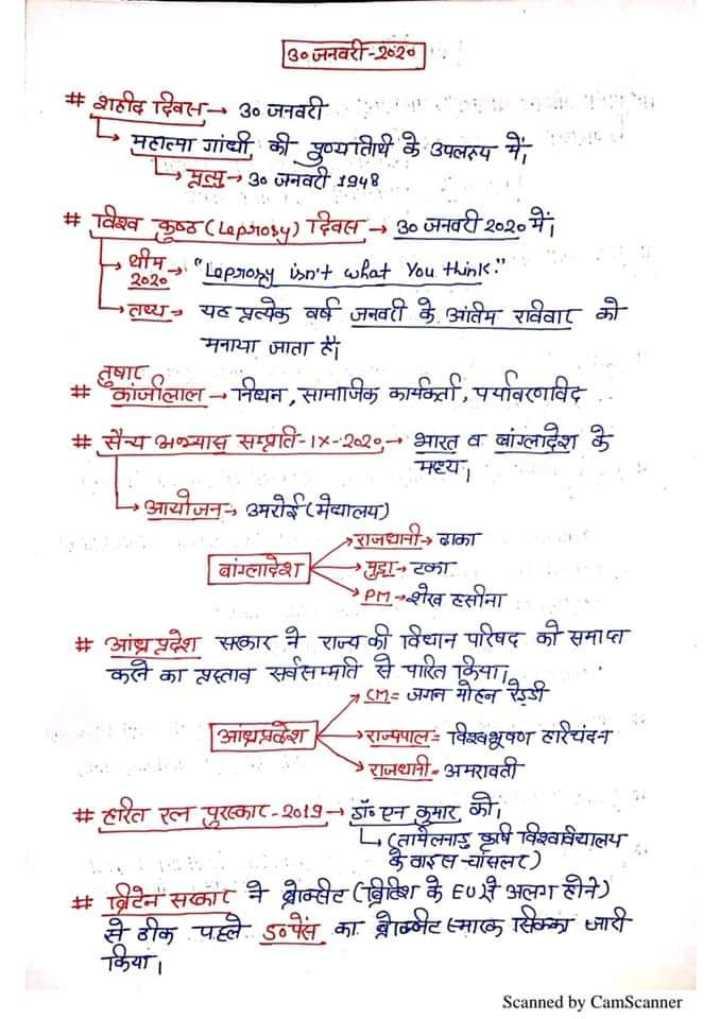 📋 સ્પર્ધાત્મક પરીક્ષાની તૈયારી - 30 जनवरी - 2620 ] # शहीद दिवस - 30 जनवरी - महात्मा गांधी की पुण्यतिथि के उपलक्ष्य में , मृत्यु - 30 जनवरी 1948 # विश्व कुष्ठ ( Leprosy ) दिवस - - 30 जनवरी २०२० में 20 % Leprosy isn ' t what you think . तष्य , यट प्लत्येक वर्ष जनवरी 2 आतम राववार को मनाया जाता है । # कांजीलाल - निष्यन , सामाजिक कार्मा , पर्यावरणाविद . . # सैन्य अभ्यास सम्पति - 18 - 2020 - - भारत व वांग्लादेश के . मथ्या Lआयोजन - , उमरी मैयालय ) राजधानी ढाका बांग्लादेशमा रका Pr7 - - शेख हसीना # आंध्रप्रदेश सकार ने राज्य की विधान परिषद की समाप्त करने का प्रस्ताव सर्वसम्मति से पारित किया । 747 जगन मोहन रेड्डी . आशाप्नवेश राज्पपालः विश्वभूषण ठारचंदन > राजधानी - अमरावती # हरित रत्न पुरस्कार - 2019 - डॉ एन कुमार को तामेलमा षि विश्वविद्यालय वारसासलर ) # ब्रिटेन सकार ने धाम्सट ( वित्तिा के E011 अलग होने ) से ठीक पहले ऽन्स का नामनेट माल सिममा जारी किया । Scanned by CamScanner - ShareChat