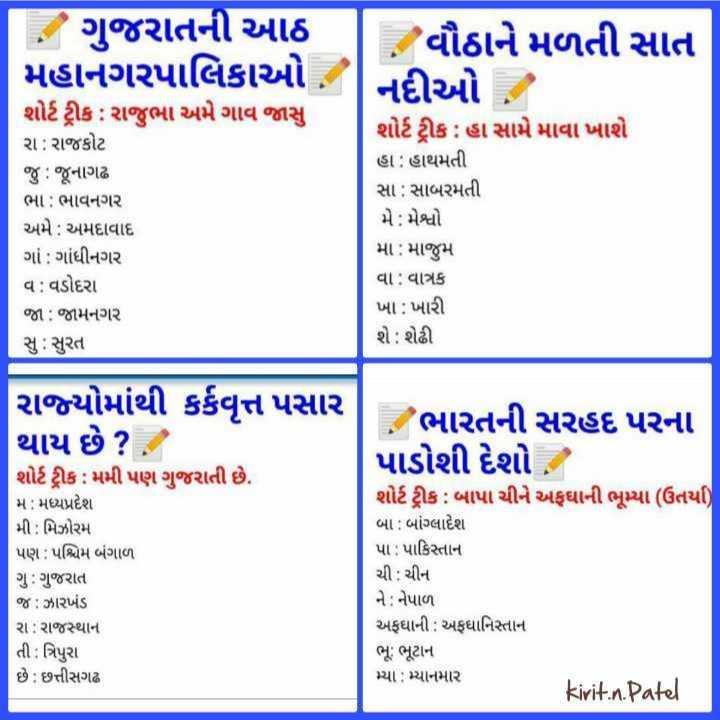 📋 સ્પર્ધાત્મક પરીક્ષાની તૈયારી - છે ગુજરાતની આઠ મહાનગરપાલિકાઓ , શોર્ટ ટ્રીક : રાજુભા અમે ગાવ જાસુ રા : રાજકોટ જુ : જૂનાગઢ ભા : ભાવનગર અમે : અમદાવાદ ગાં : ગાંધીનગર વ : વડોદરા જા : જામનગર સુ : સુરત વૌઠાને મળતી સાત નદીઓ , શોર્ટ ટ્રીક : હા સામે માવા ખાશે હા : હાથમતી સા : સાબરમતી મે : મેશ્વો મા : માજુમ વા : વાત્રક ખા : ખારી શે : શેઢી રાજ્યોમાંથી કર્કવૃત્ત પસાર થાય છે ? શોર્ટ ટ્રીક : મમી પણ ગુજરાતી છે . મે ; મધ્યપ્રદેશ મી : મિઝોરમ પણ : પશ્ચિમ બંગાળ ગુ : ગુજરાત જ : ઝારખંડ રા : રાજસ્થાન તી : ત્રિપુરા છે : છત્તીસગઢ ભારતની સરહદ પરના પાડોશી દેશો . શોર્ટ ટ્રીક : બાપા ચીને અફઘાની ભૂખ્યા ( ઉતર્યા ) બા : બાંગ્લાદેશ પા : પાકિસ્તાન ચી : ચીન ને : નેપાળ અફઘાની : અફઘાનિસ્તાન ભૂ : ભૂટાન મ્યો : મ્યાનમાર irit . n . Patel - ShareChat