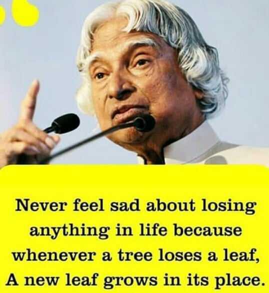 🙏கலாமின் நினைவுகள் - Never feel sad about losing anything in life because whenever a tree loses a leaf , A new leaf grows in its place . - ShareChat
