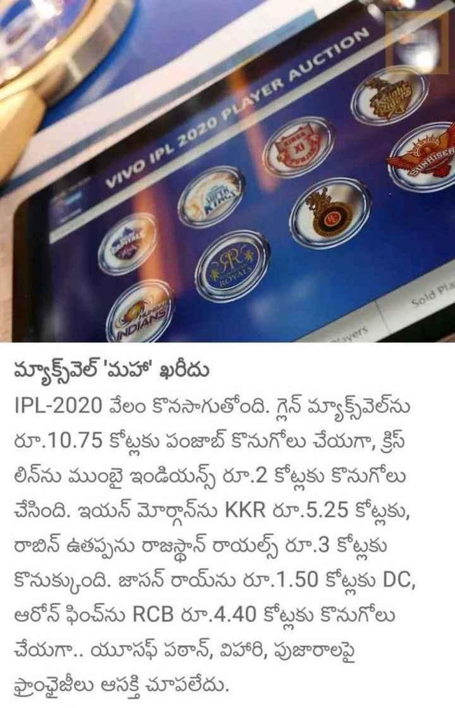 🏏ఐపీఎల్ ఆటగాళ్ల వేలం - RISER VIVO IPL 2020 PLAYER AUCTION Sold Pla మ్యాక్స్వల్ ' మహా ' ఖరీదు IPL - 2020 వేలం కొనసాగుతోంది . గ్లెన్ మ్యాక్స్వలను రూ . 10 . 75 కోట్లకు పంజాబ్ కొనుగోలు చేయగా , క్రిస్ లినను ముంబై ఇండియన్స్ రూ . 2 కోట్లకు కొనుగోలు చేసింది . ఇయన్ మోర్గాన్ ను KKR రూ . 5 . 25 కోట్లకు , రాబిన్ ఉతప్పను రాజస్థాన్ రాయల్స్ రూ . 3 కోట్లకు కొనుక్కుంది . జాసన్ రాయ్ ను రూ . 1 . 50 కోట్లకు DC , ఆరోన్ ఫించ్ ను RCB రూ . 4 . 40 కోట్లకు కొనుగోలు చేయగా . . యూసఫ్ పఠాన్ , విహారి , పుజారాలపై ఫ్రాంఛైజీలు ఆసక్తి చూపలేదు . - ShareChat