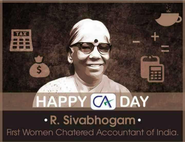 🦅 ఛార్టర్డ్ అకౌంటెంట్ డే ✍️ - TAXI HAPPY CA DAY • R . Sivabhogam . First Women Chatered Accountant of India . - ShareChat