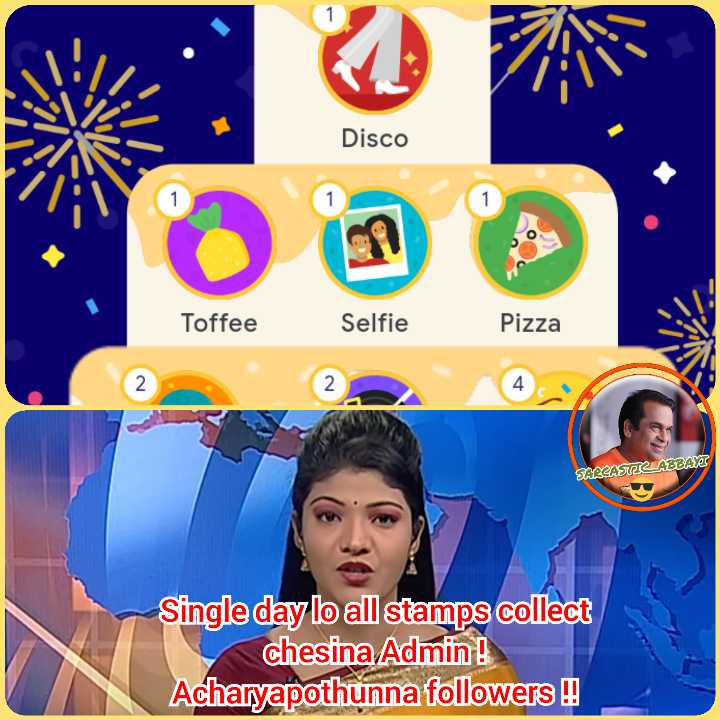 😀జోక్స్ - Disco Toffee Selfie Pizza 4 SARCAS LABLAR Single day lo all stamps collect chesina Admin ! Acharyapothunna followers ! - ShareChat