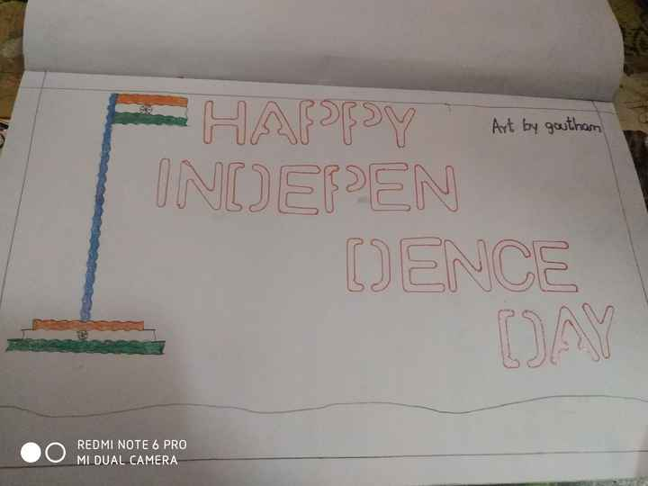 👉ట్రై కలర్ రంగోలి - Art by goutham H APPY Art by gestiham INDEPEN DENCE REDMI NOTE 6 PRO MI DUAL CAMERA - ShareChat