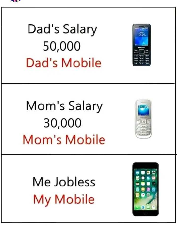 నా ఫ్యామిలీ - 1245 . Dad ' s Salary 50 , 000 Dad ' s Mobile UL LEIT ! Mom ' s Salary 30 , 000 Mom ' s Mobile Me Jobless My Mobile TOTO - ShareChat