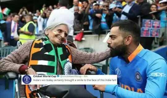 👍బంగ్లాదేశ్ పై భారత్ ఘనవిజయం - OPE ( W ) Cricket World Cup coworldcom India ' s win today certainly brought a smile to the face of this India fant - ShareChat