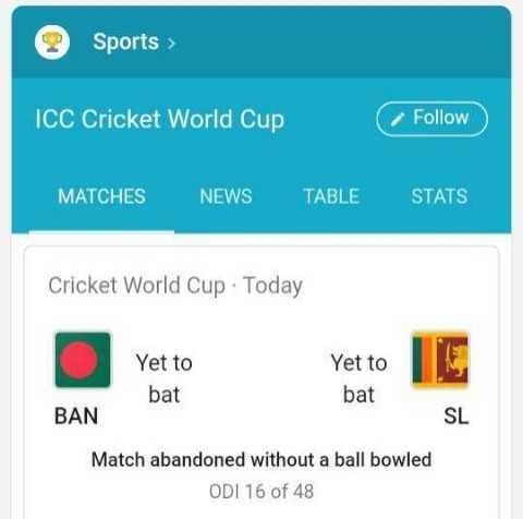 🏆బంగ్లాదేశ్ vs శ్రీలంక - Sports > ICC Cricket World Cup Follow MATCHES NEWS TABLE STATS Cricket World Cup · Today Yet to bat Yet to US bat SL BAN Match abandoned without a ball bowled ODI 16 of 48 - ShareChat