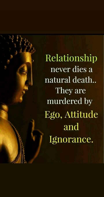 భంధం - Relationship never dies a natural death . They are murdered by Ego , Attitude and Ignorance . - ShareChat