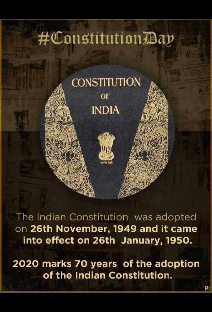 🇮🇳 భారత రాజ్యాంగ దినోత్సవం 🌹🌷 - # ConstitutionDay CONSTITUTION OF INDIA The Indian Constitution was adopted on 26th November , 1949 and it came into effect on 26th January , 1950 . 2020 marks 70 years of the adoption of the Indian Constitution . - ShareChat