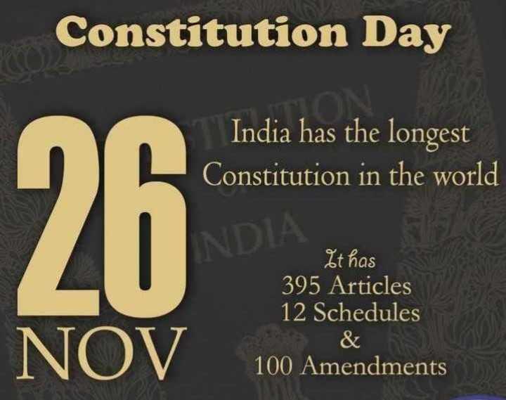 🇮🇳 భారత రాజ్యాంగ దినోత్సవం 🌹🌷 - Constitution Day India has the longest Constitution in the world 26 It has 395 Articles 12 Schedules NOV 100 Amendments - ShareChat