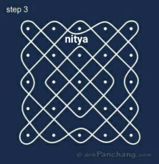 🤞🏽ముత్యాల ముగ్గులు - step 3 nitya drik Panchang . com - ShareChat