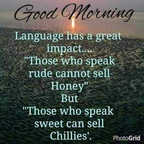 🌅శుభోదయం - Good Morning Language has a great Si impact . . . . Those who speak rude cannot sell Honey But Those who speak sweet can sell Chillies ' . PhotoGrid - ShareChat