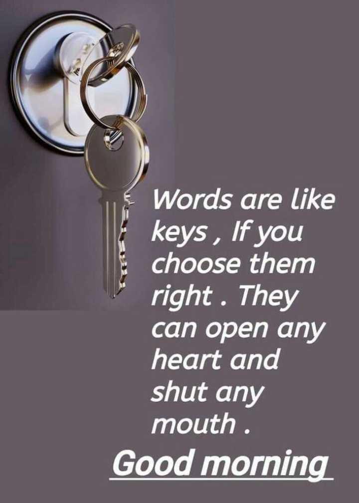 🌅శుభోదయం - Words are like keys , If you choose them right . They can open any heart and shut any mouth . Good morning - ShareChat