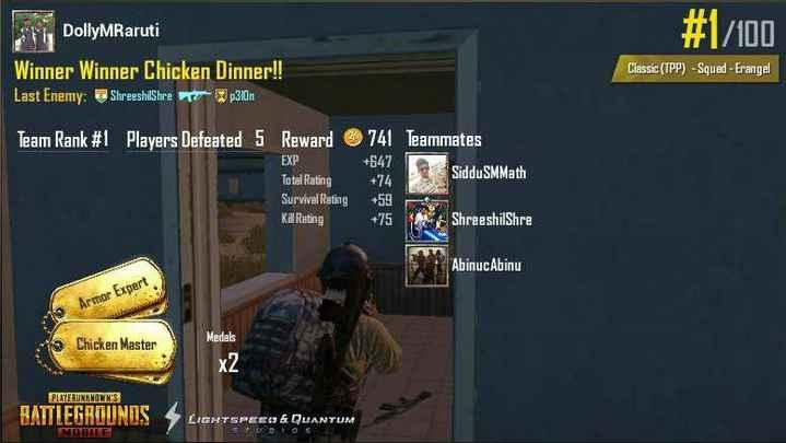 ಗೇಮ್ - DollyMRaruti # 1 / 100 Classic ( TPP ) - Squed - Erangel Winner Winner Chicken Dinner ! ! Last Enemy : ShreeshilShre 310n Team Rank # 1 Players Defeated 5 Reward EXP 741 Teammates + 647 Siddu SMMath + 74 Total Rating Survival Rating Kill Rating + 75 ShreeshilShre AbinucAbinu Armor Expert Chicken Master Medals X2 PLAYERUNKNOWN ' S BATTLEGROUNDS LIGHTSPEEL & QUANTUM TO MEHTE - ShareChat