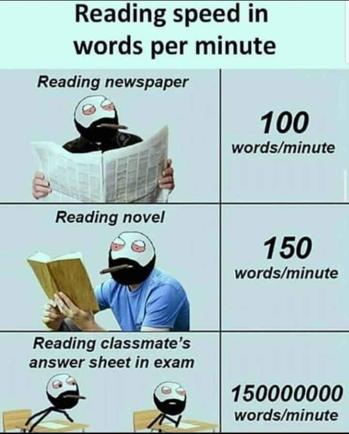 😜ಟ್ರೋಲ್ಸ್ - Reading speed in words per minute Reading newspaper 100 words / minute Reading novel 150 words / minute Reading classmate ' s answer sheet in exam 150000000 words / minute - ShareChat