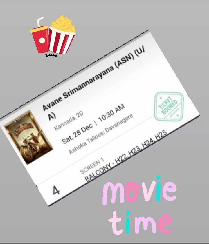 ರಕ್ಷಿತ್ ಶೆಟ್ಟಿ - Pooble Avane Srimannarayana ( ASN ) ( U / TICKET BOOKED A Kannada , 2D Sat , 28 Dec | 10 : 30 AM Ashoka Talkies : Davanagere SCREEN 1 BALCONY - H22 , H23 . H24 . H25 mve tm - ShareChat