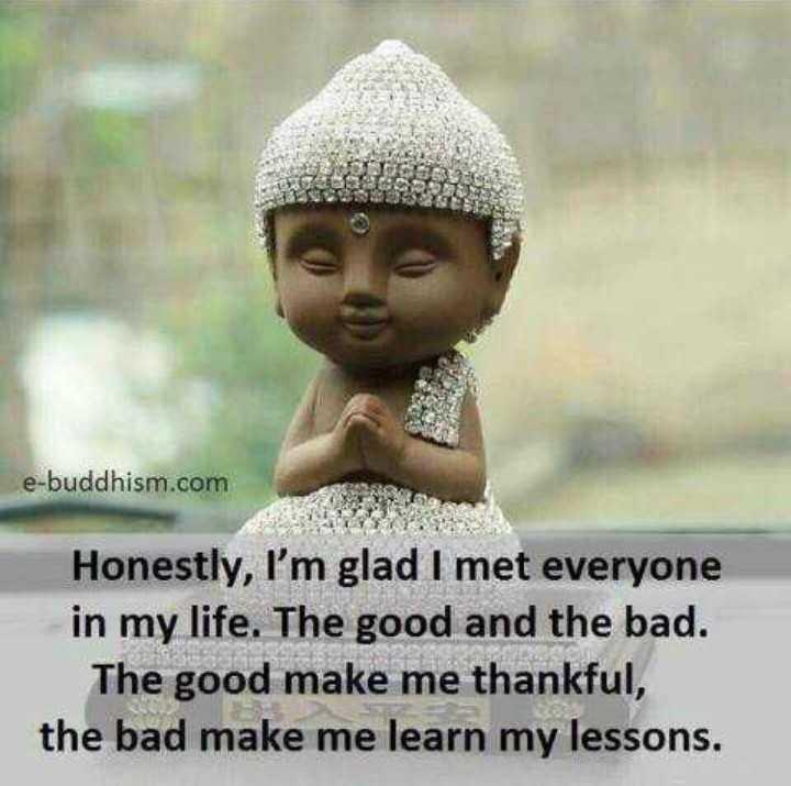 🧠 ಸಾಮಾನ್ಯ ಜ್ಞಾನ - e - buddhism . com Honestly , I ' m glad I met everyone in my life . The good and the bad . The good make me thankful , the bad make me learn my lessons . - ShareChat