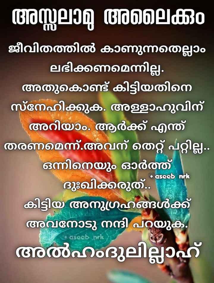 🙏🏼 ഭക്തി - ' അസ്സലാമു അലൈക്കും ജീവിതത്തിൽ കാണുന്നതെല്ലാം ലഭിക്കണമെന്നില്ല . അതുകൊണ്ട് കിട്ടിയതിനെ സ്നേഹിക്കുക . അള്ളാഹുവിന് അറിയാം . ആർക്ക് എന്ത് തരണമെന്ന് . അവന് തെറ്റ് പറ്റില്ല . . ഒന്നിനെയും ഓർത്ത് ദുഃഖിക്കരുത് . കിട്ടിയ അനുഗ്രഹങ്ങൾക്ക് അവനോടു നന്ദി പറയുക . അൽഹംദുലില്ലാഹ് aseeb nok Odseeb nok - ShareChat