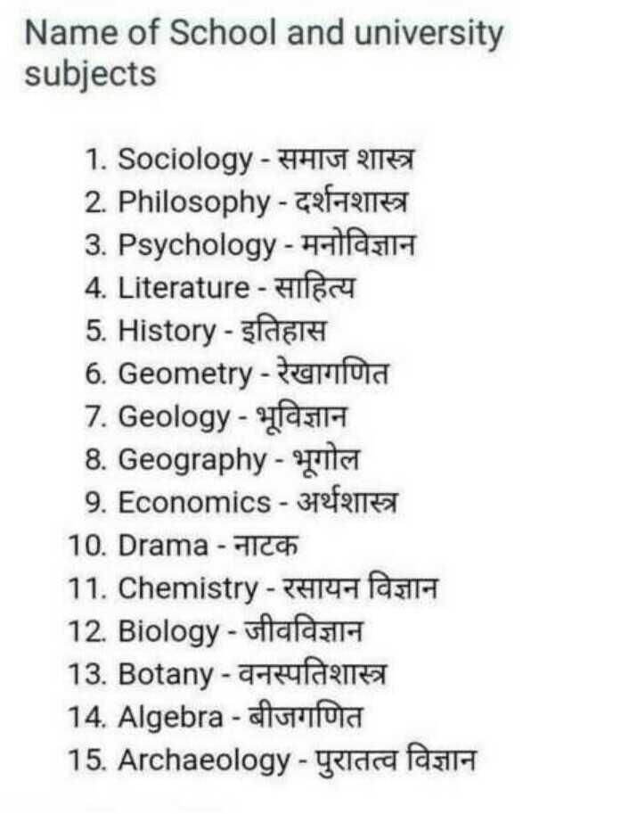 👨🎓 इंग्लिश स्पीकिंग - Name of School and university subjects 1 . Sociology - HIGT OF 2 . Philosophy - ERFARE 3 . Psychology - HASIH 4 . Literature - Hifa 5 . History - sport 6 . Geometry - terra 7 . Geology - IH 8 . Geography - IT 9 . Economics - 312fen 10 . Drama - TICA 11 . Chemistry - 25144 fasili 12 . Biology - ufafasi 13 . Botany - 4 14 . Algebra - Mora 15 . Archaeology - gelda falla - ShareChat