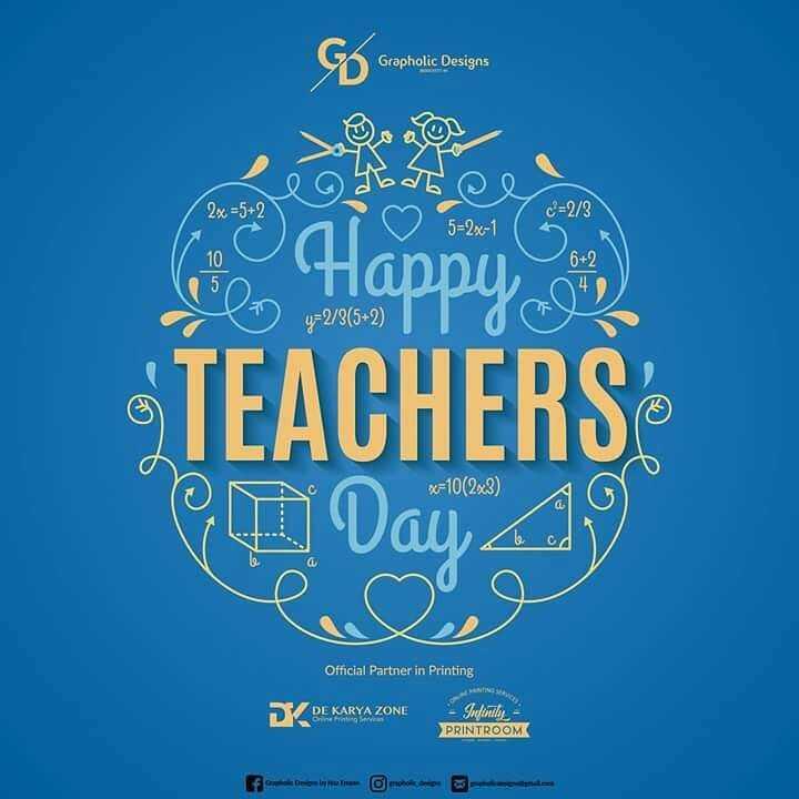 👩🏫 ਹੈਪੀ teacher's ਡੇ 👨🏫 - % Grapholic Designs Cobol = 5 + 2 5 = 2x - 1 6 + 2 Happy ) y = 2 / 3 ( 5 + 2 ) TEACHERS XF10 ( 2x3 ) Dau Official Partner in Printing DX DE KARYA ZONE PRINTROOMK - ShareChat