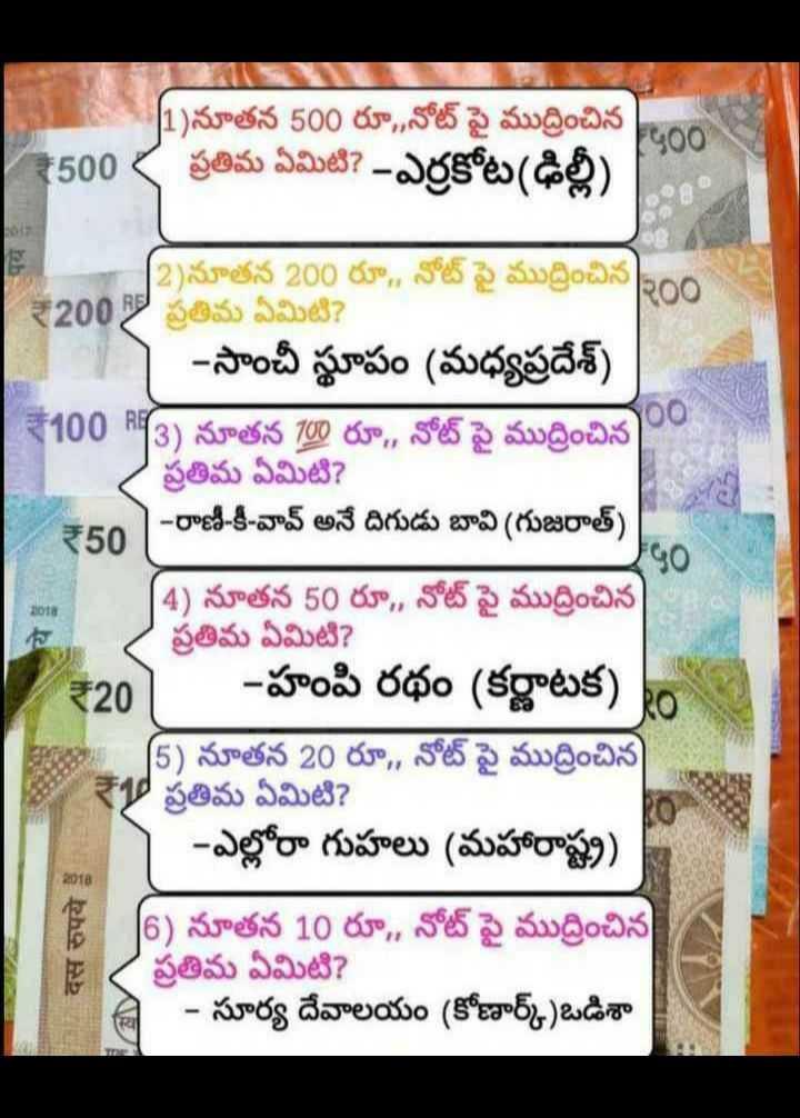 👩🎓జనరల్ నాలెడ్జ్ - 11 ) నూతన 500 రూ , , నోట్ పై ముద్రించిన 200 1500 , ప్రతిమ ఏమిటి ? - ఎర్రకోట ( ఢిల్లీ ) ₹50 2 ) నూతన 200 రూ . , నోట్ పై ముద్రించిన 200 | ₹2008 ప్రతిమ ఏమిటి ? - సాంచీ స్థూపం ( మధ్యప్రదేశ్ ) ₹100 RF3 ) నూతన 100 రూ , , నోట్ పై ముద్రించిన ప్రతిమ ఏమిటి ? | - రాణి - కీ - వావ్ అనే దిగుడు బావి ( గుజరాత్ ) [ 4 ) నూతన 50 రూ , , నోట్ పై ముద్రించిన ప్రతిమ ఏమిటి ? - హంపి రథం ( కర్ణాటక ) ( 5 ) నూతన 20 రూ , , నోట్ పై ముద్రించిన ప్రతిమ ఏమిటి ? - ఎల్లోరా గుహలు ( మహారాష్ట్ర ) 6 ) నూతన 10 రూ , , నోట్ పై ముద్రించిన ప్రతిమ ఏమిటి ? - సూర్య దేవాలయం ( కోణార్క్ ) ఒడిశా ₹207 दस रुपये - ShareChat