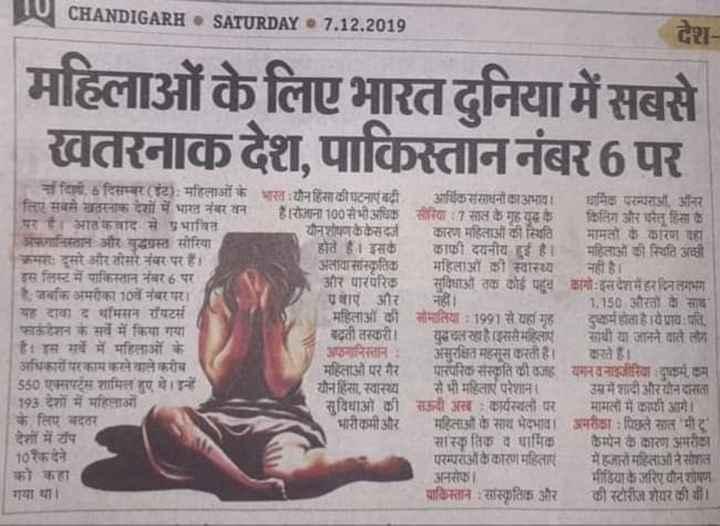 🙋♀️ उन्नाव की बिटिया को इंसाफ🙋♀️ - CHANDIGARH . SATURDAY 7 . 12 . 2019 देश महिलाओं के लिए भारत दुनिया में सबसे खतरनाक देश , पाकिस्ताननंबर6 पर किलिपरम्पराओं और माहलाओ की ना दिली . 6 दिसम्बर ( ट ) : महिलाओं के भारत यौन हिंसा की घटनाएं बढी आर्थिक संसाधनों का अभाव । धार्मिक परम्परा ऑनर लिए सबसे खतरनाक देशों में भारत नंबर वन रोजाना 100 से भी अधिक सीरिया : 7 साल के गृह युद्ध के किलिंग और घरेलू हिंसा के पर है । आतंकवाद से प्रभावित यौन शोषणकै केसदर्ज कारण महिलाओं की स्थिति मामतों के कारण यहां अफगानिस्तान और युद्धग्रस्त सीरिया होते हैं । इसकेकाफी दयनीय हुई है । महिलाओं की स्थिति अच्छी क्रमसः दूसरे और तीसरे नंबर पर हैं । अलावासास्कृतिक महिलाओं की स्वास्थ्य नही है । इस लिस्ट में पाकिस्तान नंबर 6 पर और पारंपरिक सुविधाओं तक कोई पहूव कांगो इसदेशमेहरदिनलगभग है . जबकि अमरीका 10वें नंबर पर । वाएं और नहीं । 1 . 150 औरतों के साथ यह दावा द थॉमसन रॉयटर्स महिलाओं की सोमालिया : 1991 से यहां ग्रह - दुष्कर्म होता है । येप्राय : पति . फाऊंडेशन के सर्वे में किया गया बढ़ती तस्करी । युदचल रहा है । इससे महिलाएं साथी या जानने वाले लोग है । इस सर्वे में महिलाओं के अफगानिस्तान : असुरक्षित महसूस करती हैं । करते हैं । अधिकारों परकाम करने वाले करीब महिलाओं पर गैर पारंपरिक संस्कृति की वजह यमनवनाइजीरिया दुष्कर्म कम 550 एक्सपर्ट्स शामिल हुए थे । इन्हें यौन हिंसा . स्वास्थ्य से भी महिलाएं परेशाना उसमें शादी औरयोनदासता 193 देशों में महिलाओं सुविधाओं की सऊदी अखः कार्यस्थलों पर मामलों में काफी आगे । । के लिए बदतर भारीकमी और महिलाओं के साथ भेदभाव । अमरीक्षा : पिछले साल भी 1 देशों में टॉप सास्कृतिक व धार्मिक कैम्पेन के कारण अमरीका । 10 रैक देने परम्पराअकिकारण महिलाएं हजारों महिलाओं ने सोशल को कहा अनसेका मीडिया के जरिए यौन शोषण गया था । पाकिस्तान : सास्कृतिक और की स्टोरीज शेयर की थी । । - ShareChat