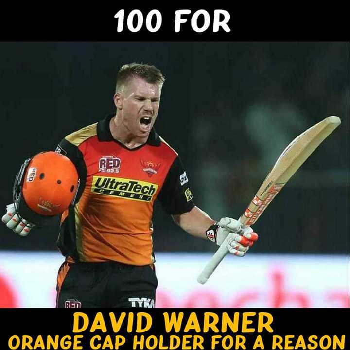 🤼‍♀RCB vs SRH - 100 FOR RED DED Ultratech CEAE NI 99 TYKA DAVID WARNER ORANGE CAP HOLDER FOR A REASON - ShareChat