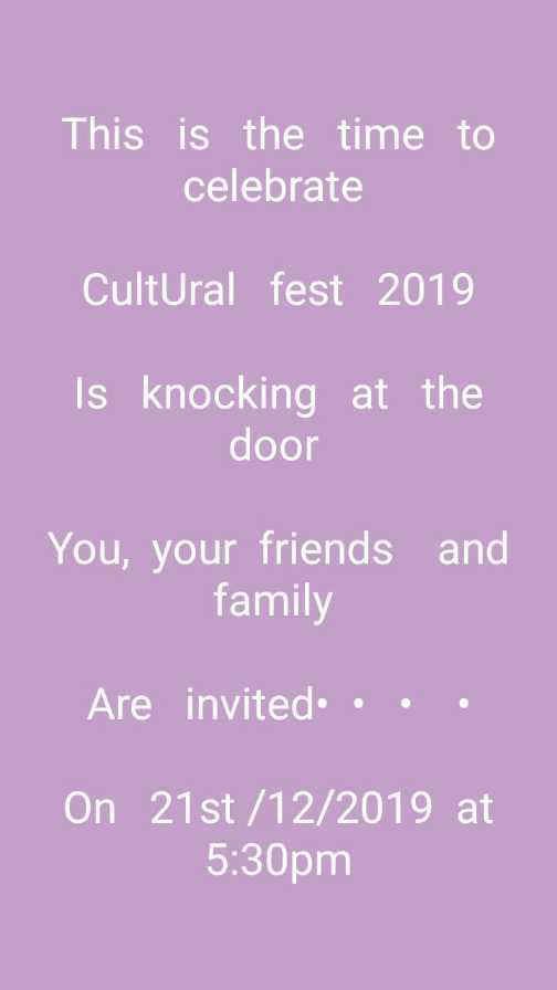 ✊ಮಾನವ ಹಕ್ಕುಗಳ ದಿನ - This is the time to celebrate Cultural fest 2019 Is knocking at the door You , your friends and family Are invited . . . On 21st / 12 / 2019 at 5 : 30pm - ShareChat