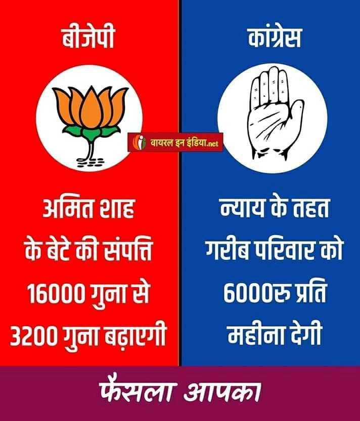 ✋ कांग्रेस की वापसी - बीजेपी कांग्रेस | वायरल इन इंडिया . net अमित शाह न्याय के तहत के बेटे की संपत्ति गरीब परिवार को 16000 गुना से 6000रु प्रति 3200 गुना बढ़ाएगी महीना देगी फैसला आपका - ShareChat