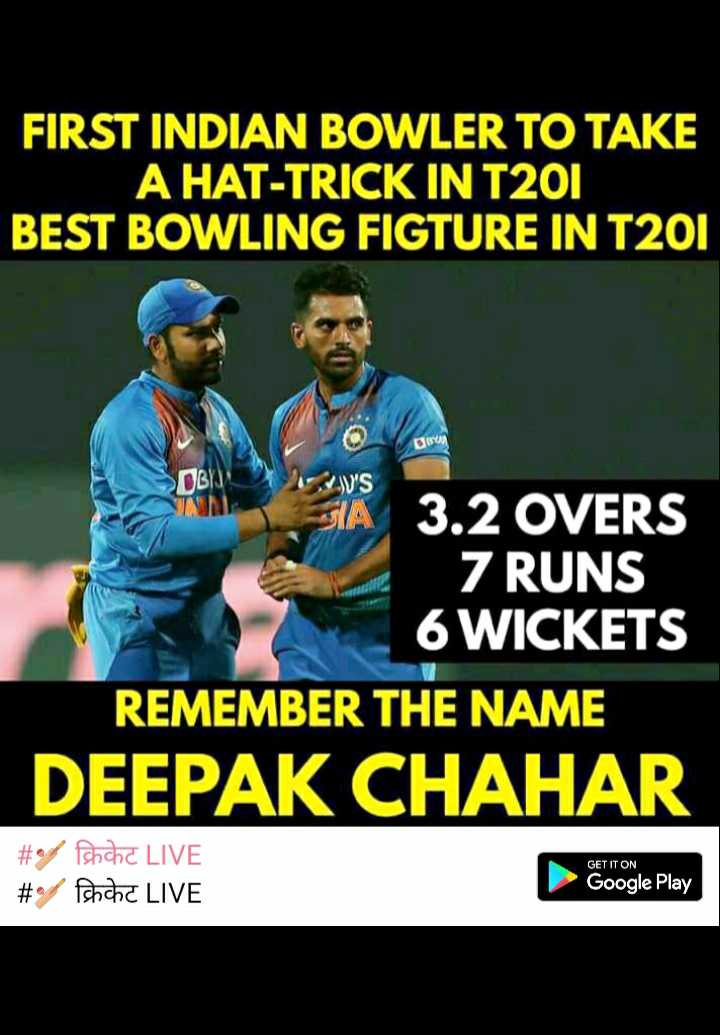 ✌ शेयरचैट सुझाव बॉक्स - FIRST INDIAN BOWLER TO TAKE A HAT - TRICK IN T201 BEST BOWLING FIGTURE IN T201 BOY Gwen OBIN WWV ' S A 3 . 2 OVERS 7 RUNS 6 WICKETS REMEMBER THE NAME DEEPAK CHAHAR _ _ # / क्रिकेट LIVE _ _ # / क्रिकेट LIVE GET IT ON Google Play - ShareChat