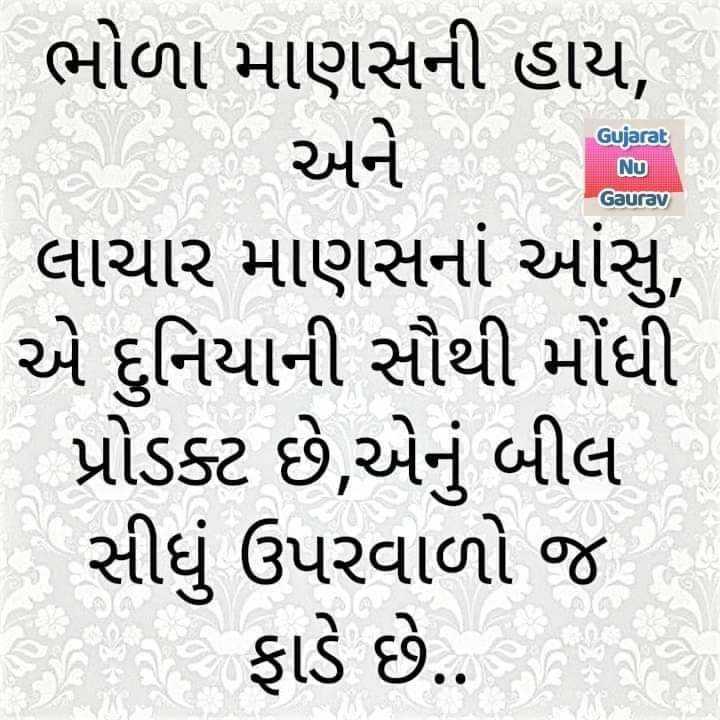 ✍️ જીવન કોટ્સ - Gujarat Nu Gaurav ભોળા માણસની હાય , અને ૧૧ લાચાર માણસનાં આંસુ , એ દુનિયાની સૌથી મોંધી પ્રોડક્ટ છે , એનું બીલ સીધું ઉપરવાળો જ ફાડે છે . - ShareChat