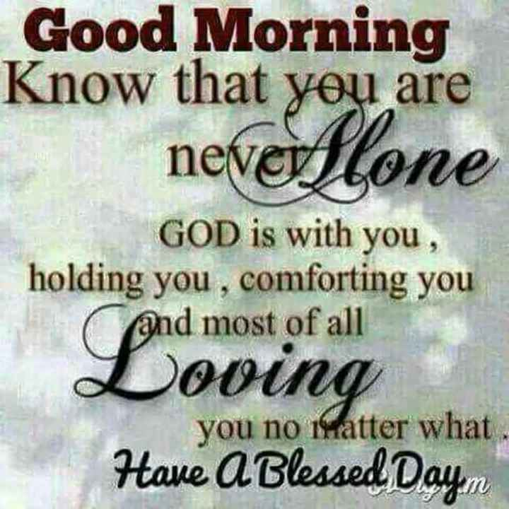 ✍️కోట్స్ - Good Morning Know that you are neverflone GOD is with you , holding you , comforting you and most of all Loving you no matter what Have A Blessed Dayn - ShareChat