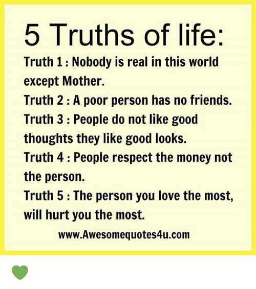 ✍️కోట్స్ - 5 Truths of life : Truth 1 : Nobody is real in this world except Mother . Truth 2 : A poor person has no friends . Truth 3 : People do not like good thoughts they like good looks . Truth 4 : People respect the money not the person . Truth 5 : The person you love the most , will hurt you the most . www . Awesomequotes4u . com - ShareChat