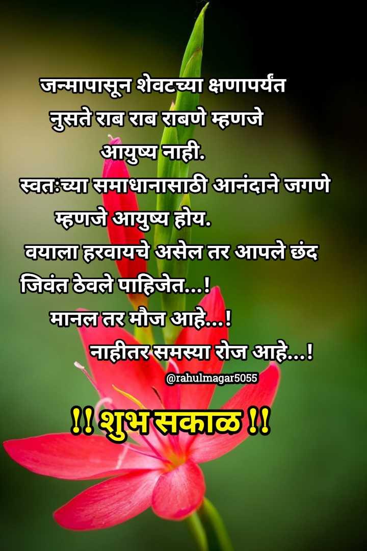 ✨सोमवार स्पेशल - जन्मापासून शेवटच्या क्षणापर्यंत नुसते राब राब राबणे म्हणजे आयुष्य नाही . स्वत : च्या समाधानासाठी आनंदाने जगणे म्हणजे आयुष्य होय . वयाला हरवायचे असेल तर आपले छंद जिवंत ठेवले पाहिजेत . . . ! मानल तर मौज आहे . . . ! नाहीतर समस्या रोज आहे . . . ! @ rahulmagar5055 शुभ सकाळ ! ! - ShareChat