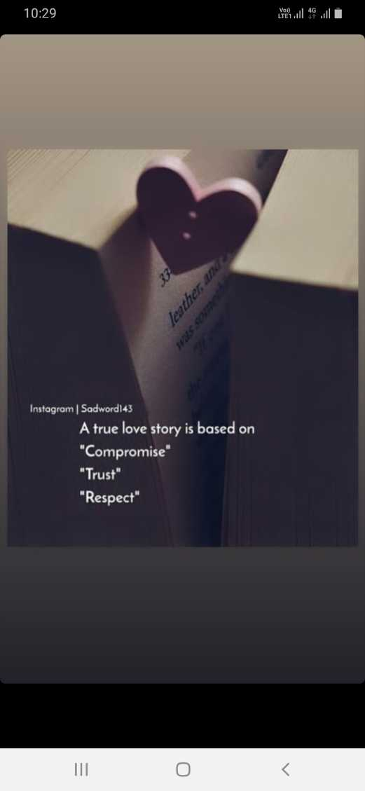 ❤️ లవ్ - 10 : 29 02 leather and Instagram | Sadword143 A true love story is based on Compromise Trust Respect - ShareChat