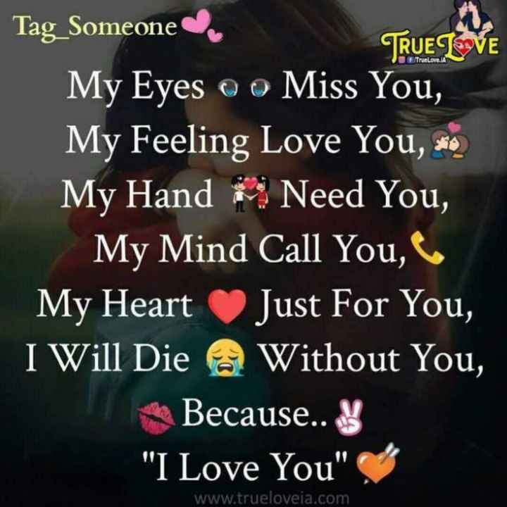 ❤️ లవ్ - Tag _ Someone TRUE LOVE My Eyes o o Miss You , My Feeling Love You , * * My Hand Need You , My Mind Call You , My Heart Just For You , I Will Die Without You , Because . . I Love You www . trueloveia . com - ShareChat