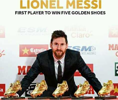 ⚽️ফুটবল - LIONEL MESSI FIRST PLAYER TO WIN FIVE GOLDEN SHOES Claro MA Estrella - ShareChat