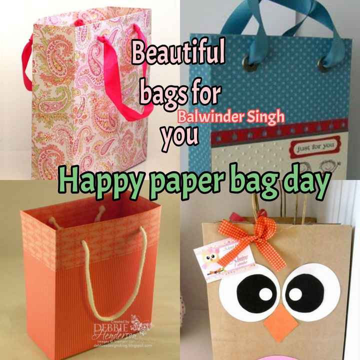 🛍️ ਪੇਪਰ ਬੈਗ ਦਿਵਸ - Beautiful bags for you on Happy paper bag day Balwinder Singh just for you Created by DEBBIES Henderson Images Stampin ' Upl . debbiesdesignsblog . blogspot . com - ShareChat