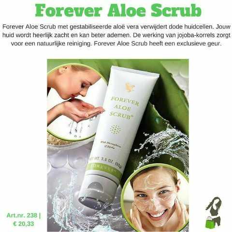 🏋️♂️  ਸਿਹਤ ਸੰਭੰਦੀ ਸੁਝਾਵ - Forever Aloe Scrub Forever Aloe Scrub met gestabiliseerde aloe vera verwijdert dode huidcellen . Jouw huid wordt heerlijk zacht en kan beter ademen . De werking van jojoba - korrels zorgt voor een natuurlijke reiniging . Forever Aloe Scrub heeft een exclusieve geur . FOREVER ALOE SCRUB W : 3 . 5 OZ . OREVER Art . nr . 238 € 20 , 33 - ShareChat