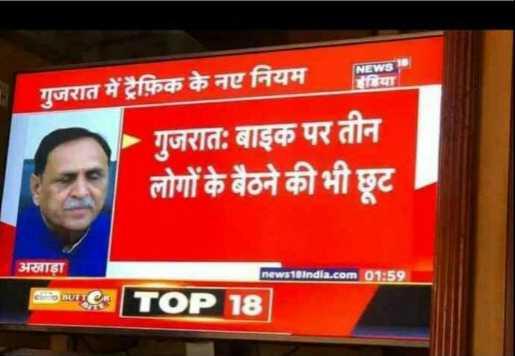 📰 13 ડિસેમ્બરનાં સમાચાર - गुजरात में ट्रैफिक के नए नियम गुजरात : बाइक पर तीन लोगों के बैठने की भी छूट अखाड़ा news18india . com 01 : 59 | TOP 18 / - ShareChat