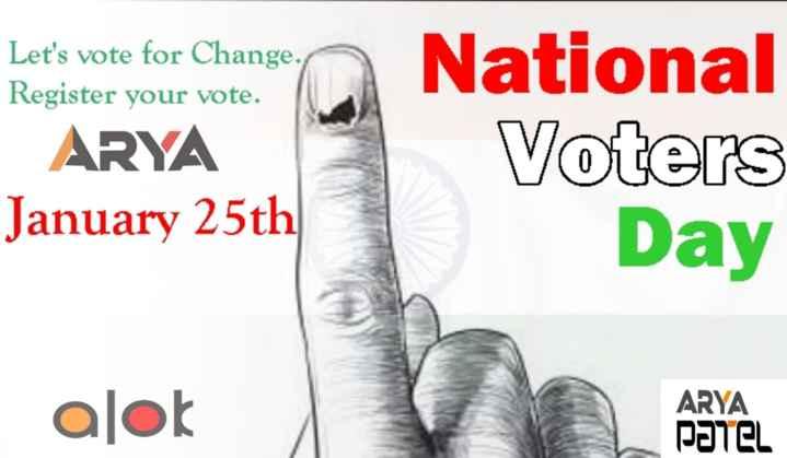 📰 25 ઓક્ટોબરનાં સમાચાર - Let ' s vote for Change . Register your vote . ARYA January 25th National Voters Day alok ARYA PATEL - ShareChat