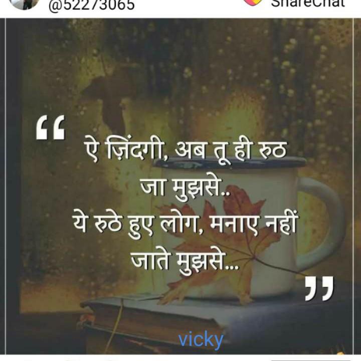 ☝ मेरे विचार - @ 52273065 Silalelial ऐ जिंदगी , अब तू ही रुठ जा मुझसे . . ये रुठे हुए लोग , मनाए नहीं जाते मुझसे . . . vicky - ShareChat