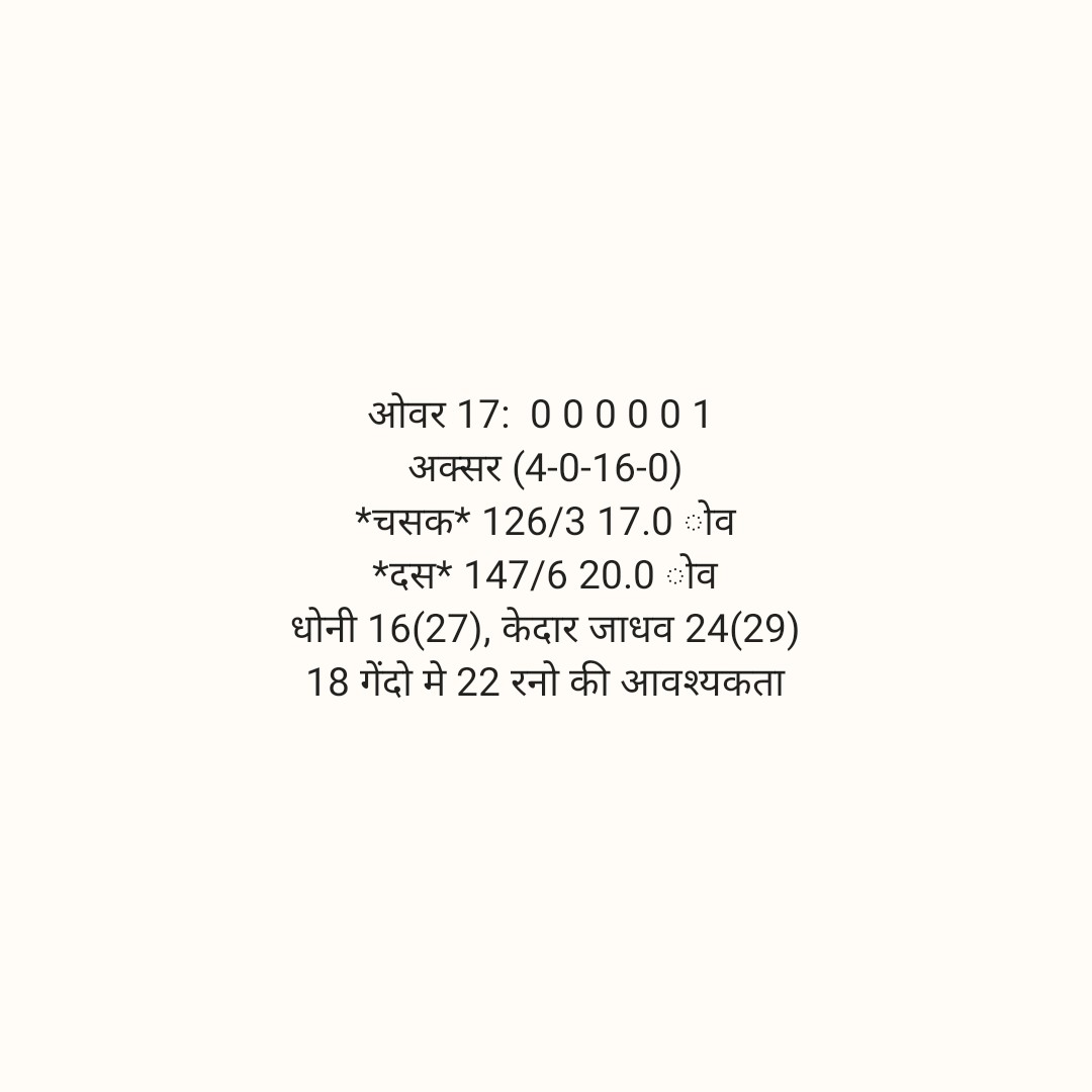 🏏 DC 🔷 vs CSK 💛 - ओवर 17 : 0 0 0 0 0 1 अक्सर ( 4 - 0 - 16 - 0 ) । * चसक * 126 / 3 17 . 0ोव * दस * 147 / 6 20 . 0ोव धोनी 16 ( 27 ) , केदार जाधव 24 ( 29 ) 18 गेंदो मे 22 रनो की आवश्यकता - ShareChat