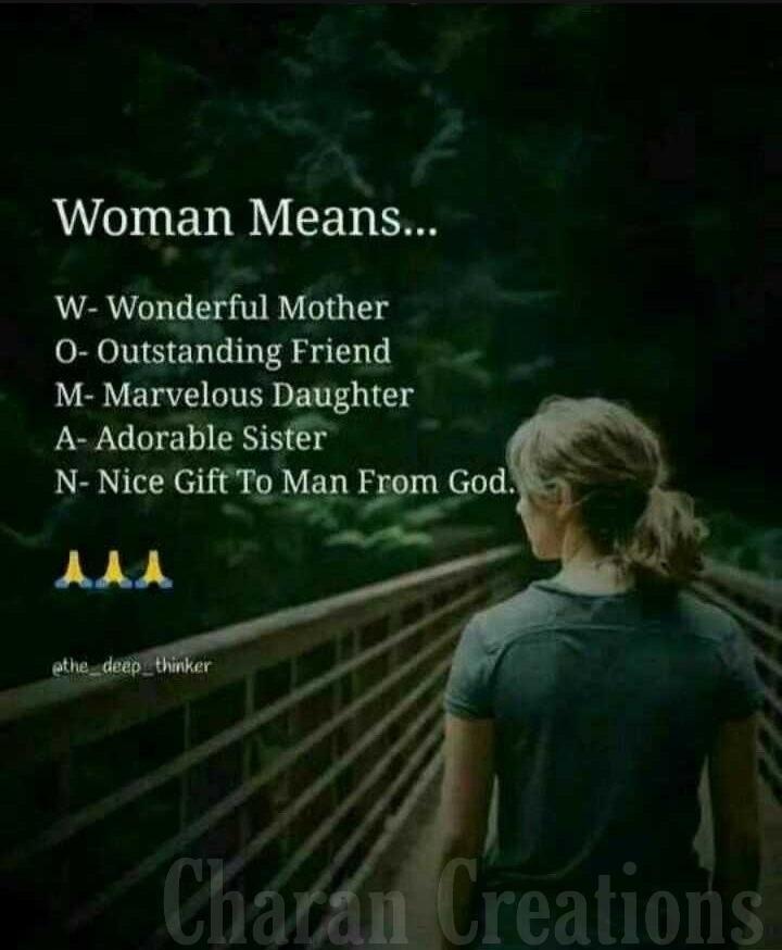 🙏🙏 నమస్తే స్త్రీ మూర్తి..🙏🙏 - Woman Means . . . ' W - Wonderful Mother 0 - Outstanding Friend M - Marvelous Daughter A - Adorable Sister N - Nice Gift To Man From God . AAA athe deep thinker Charan Creations - ShareChat