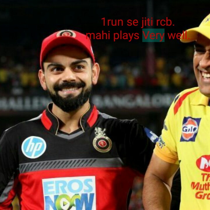 CSK vs RCB (Dhoni vs Khohli) - 1run se jiti rcb . mahi plays very well Muth Gra - ShareChat