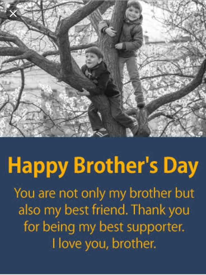Brother's Day - Happy Brother ' s Day You are not only my brother but also my best friend . Thank you for being my best supporter . Tlove you , brother . - ShareChat