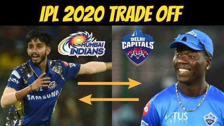 🏏 CSK 💛 vs SRH 🔶 - IPL 2020 TRADE OFF MUMBAI DELHI CAPITALS INDIANS SAMSUN - ShareChat