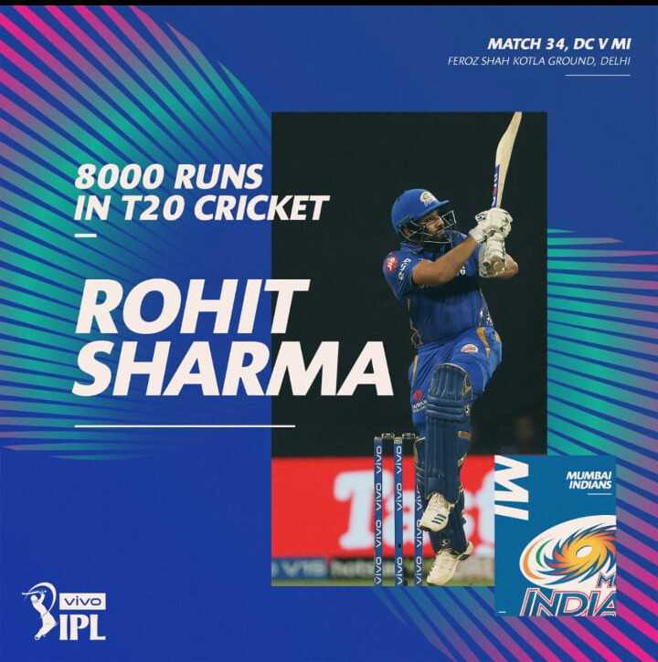 DC vs MI - MATCH 34 , DC V MI FEROZ SHAH KOTLA GROUND , DELHI 8000 RUNS IN T20 CRICKET ROHIT SHARMA MUMBAI INDIANS TOAIA OAIA 2 ΟΛΙΑ ΕΛΙΑ ΘΛΙΑ ΘΛΙΑ WESA SNA OAIA OAIA vivo - ShareChat